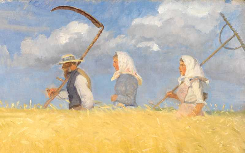 A Skagen painting of a man and two women walking in a yellow harvest field, carrying harvesting equipment.